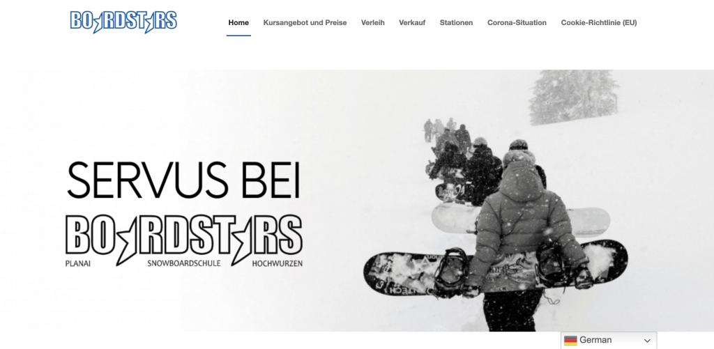 boardstars, snowboardschule, webseite, webdesign, marketing, graphic design, wordpress, webseitenerstellung