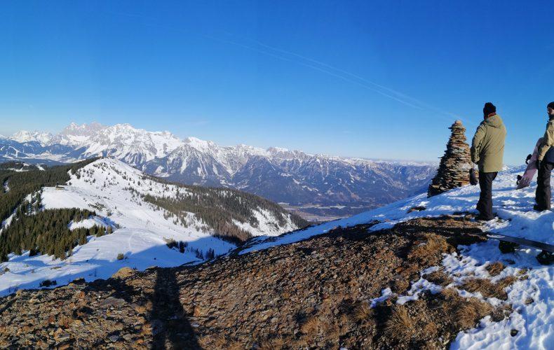 schladming, slow tourism, krahbergzinken, skitour, hike and ride, snowboarden, snowboarding, schneewandern